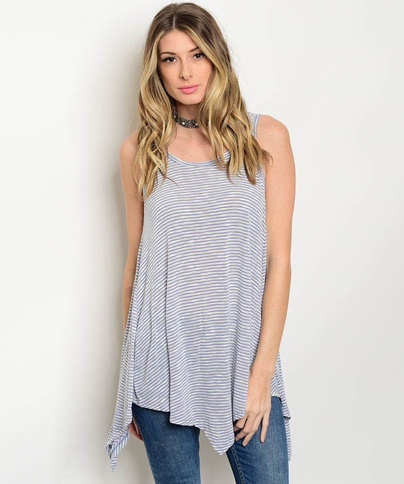 LIGHT BLUE IVORY STRIPES TOP
