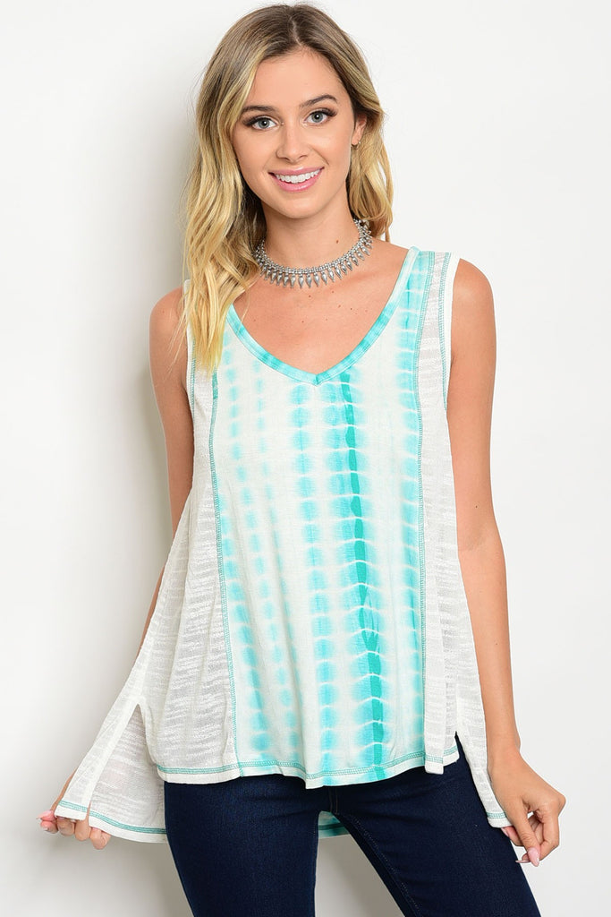 MINT CREAM TIE DYE TOP