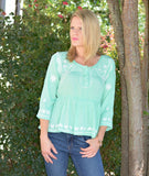 Mint Rayon Gauze Embroidered Top