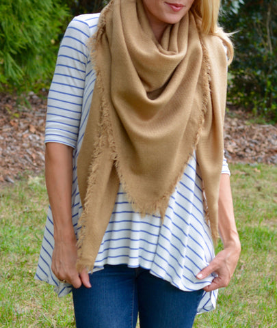 Camel Colored Solid Colored Blanket Scarf