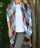 Gray/Blue Plaid Blanket Scarf