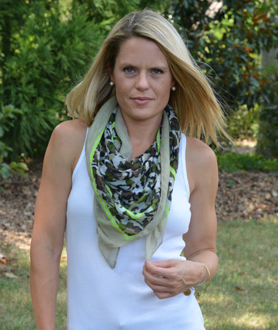 Green Boxed Camo Scarf