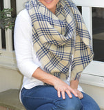 Cream & Blue Plaid Blanket Scarf