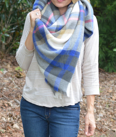 Blue/Gray/Red Blanket Scarf