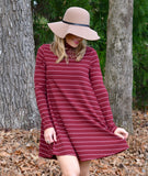STRIPED WINE WHITE DRESS