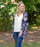 Navy & Orange Flowered Kimono