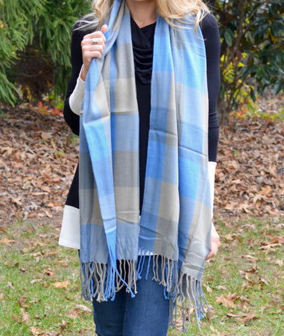 Blue Plaid Fringe Scarf