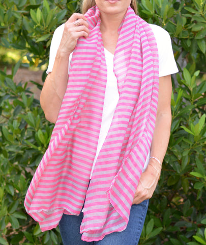 Pink and Tan Striped Scarf