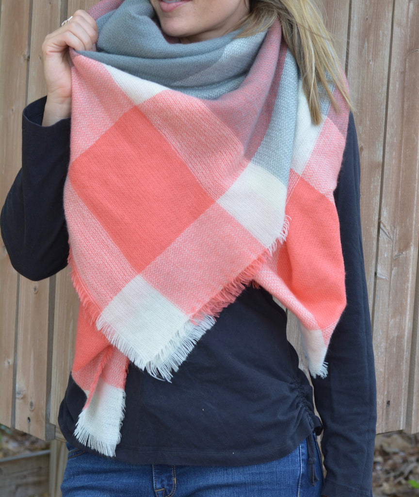 Peach & Gray Blanket Scarf