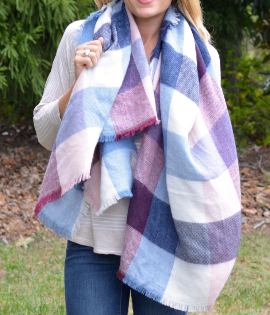 Blue, Maroon, Pink, & Cream Block Blanket Scarf