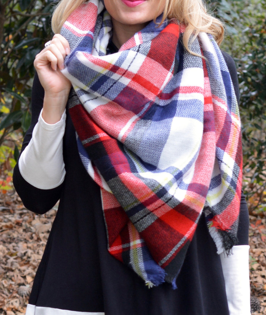 Red & Blue Blanket Scarf
