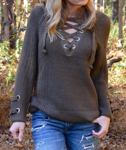 Lace Up Criss-Cross Sweater