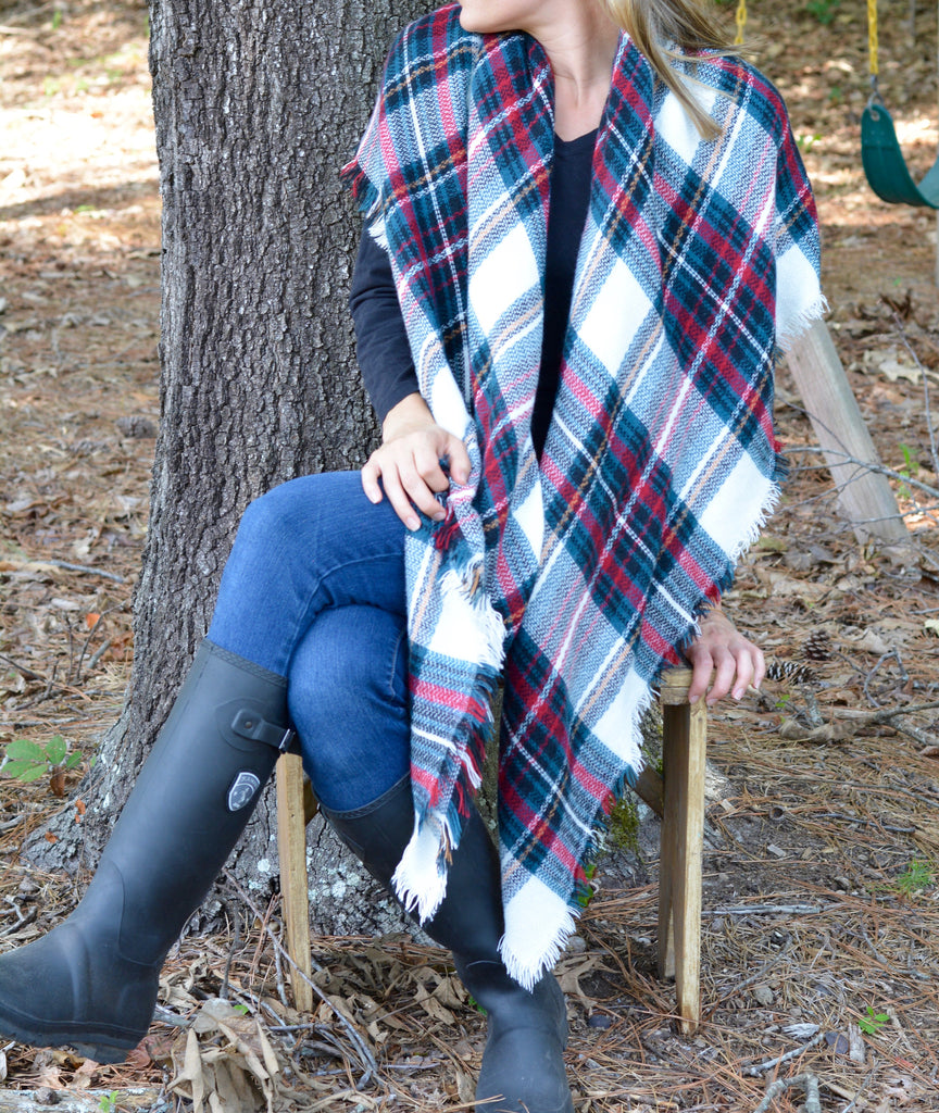 Colorful Plaid Blanket Scarf
