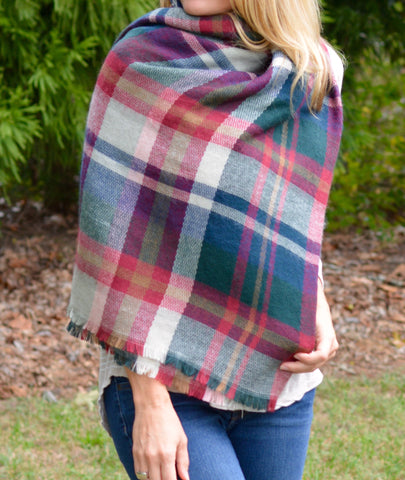 Cozy Colored Plaid Blanket Scarf