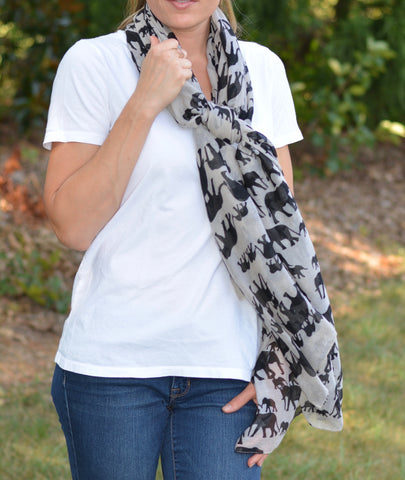 Popular Elephant Design Scarf | 4 Color Options