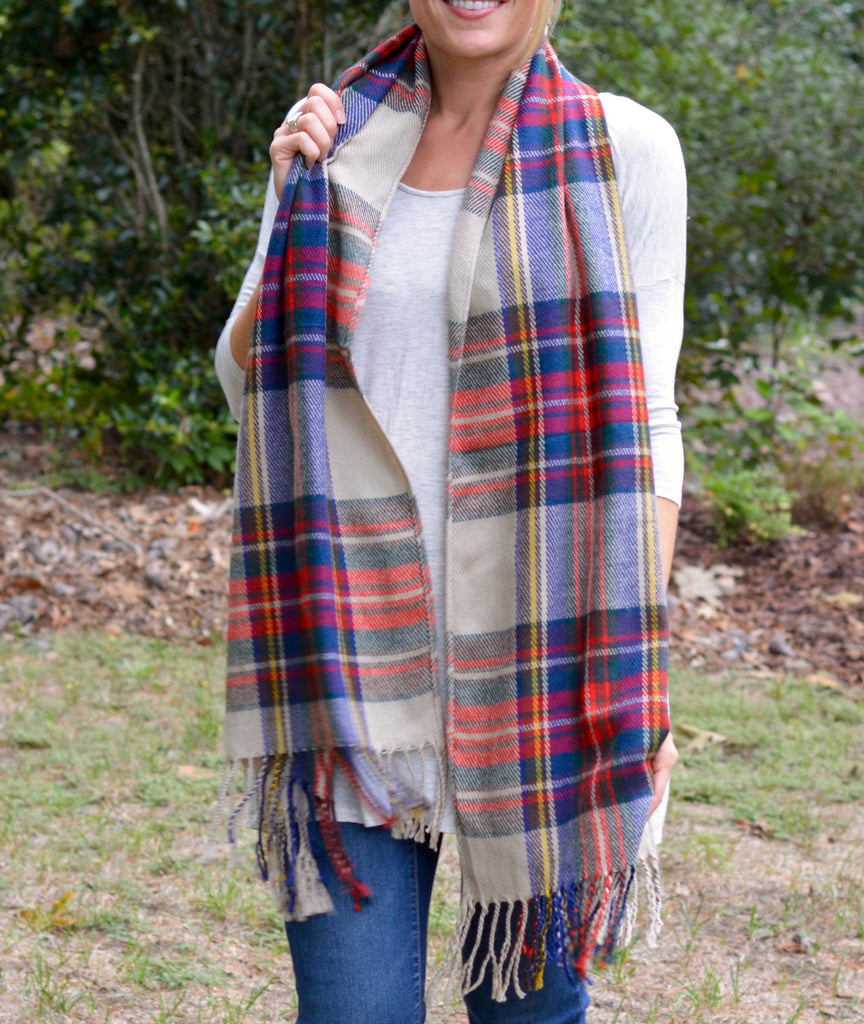 Multi-Colored Plaid Fringe Scarf