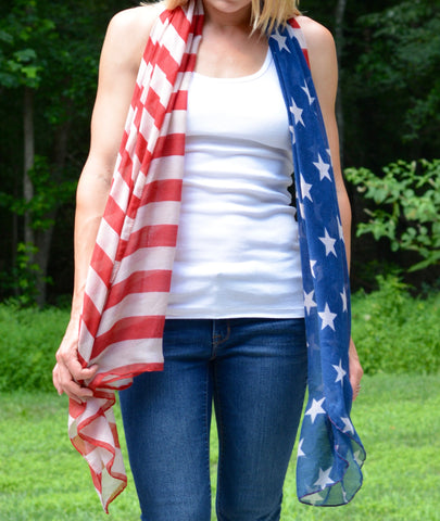 Vintage Inspired American Flag Scarf