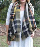 Green & Yellow Plaid Blanket Scarf