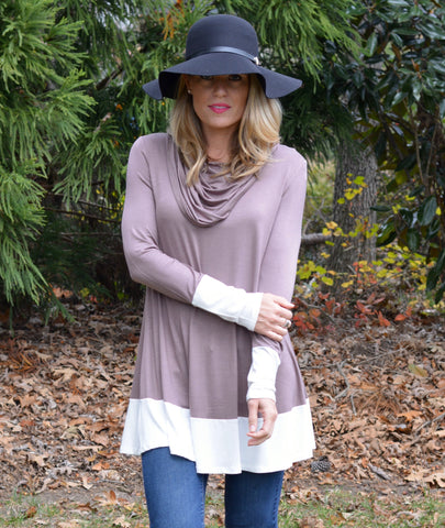 Color Block Cowl Neck Tunic | 3 Color Options