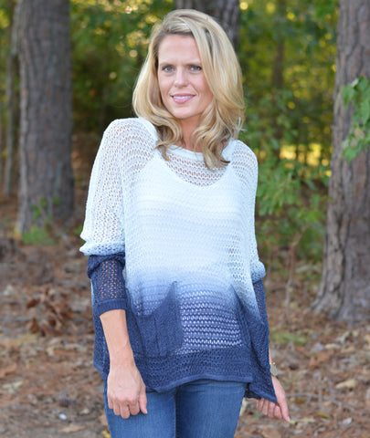 LIGHT BLUE NAVY OMBRE TIE DYE SWEATER