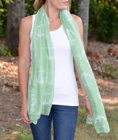 Mint Anchor Scarf