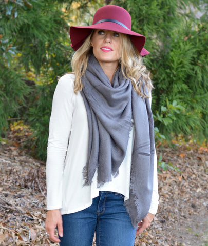 Charcoal Solid Blanket Scarf