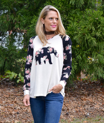 ELEPHANT FLORAL TOP