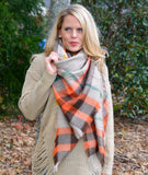 Orange & Tan Plaid Blanket Scarf