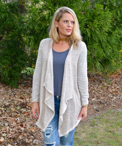 TAN WHITE CARDIGAN