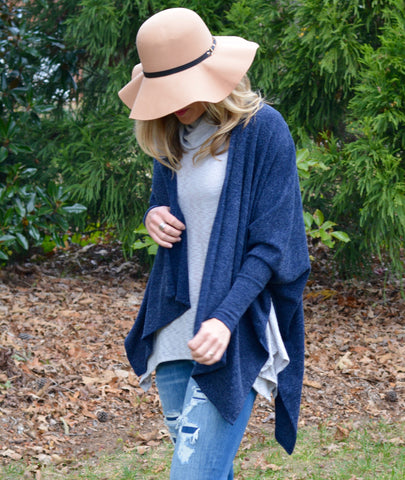NAVY DETAIL CARDIGAN