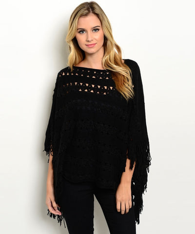 Black Fringe Trim Poncho