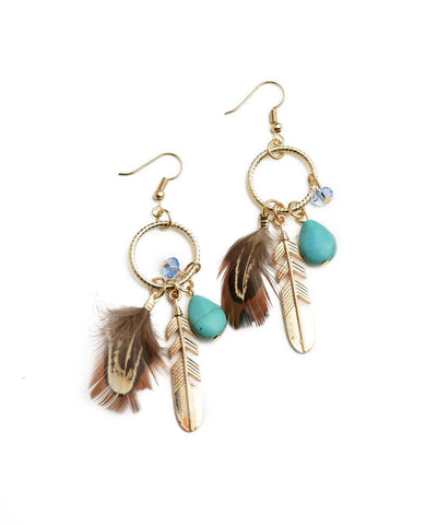 Feather Shape Gem Drop Earrings