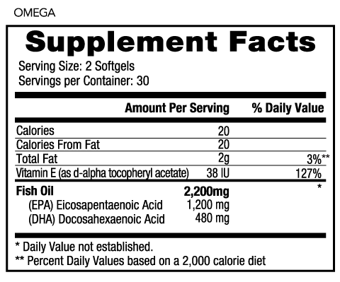 WODPak Omega-3 Supplement Facts