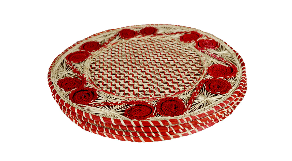 Spiral Placemat Red Set of 4