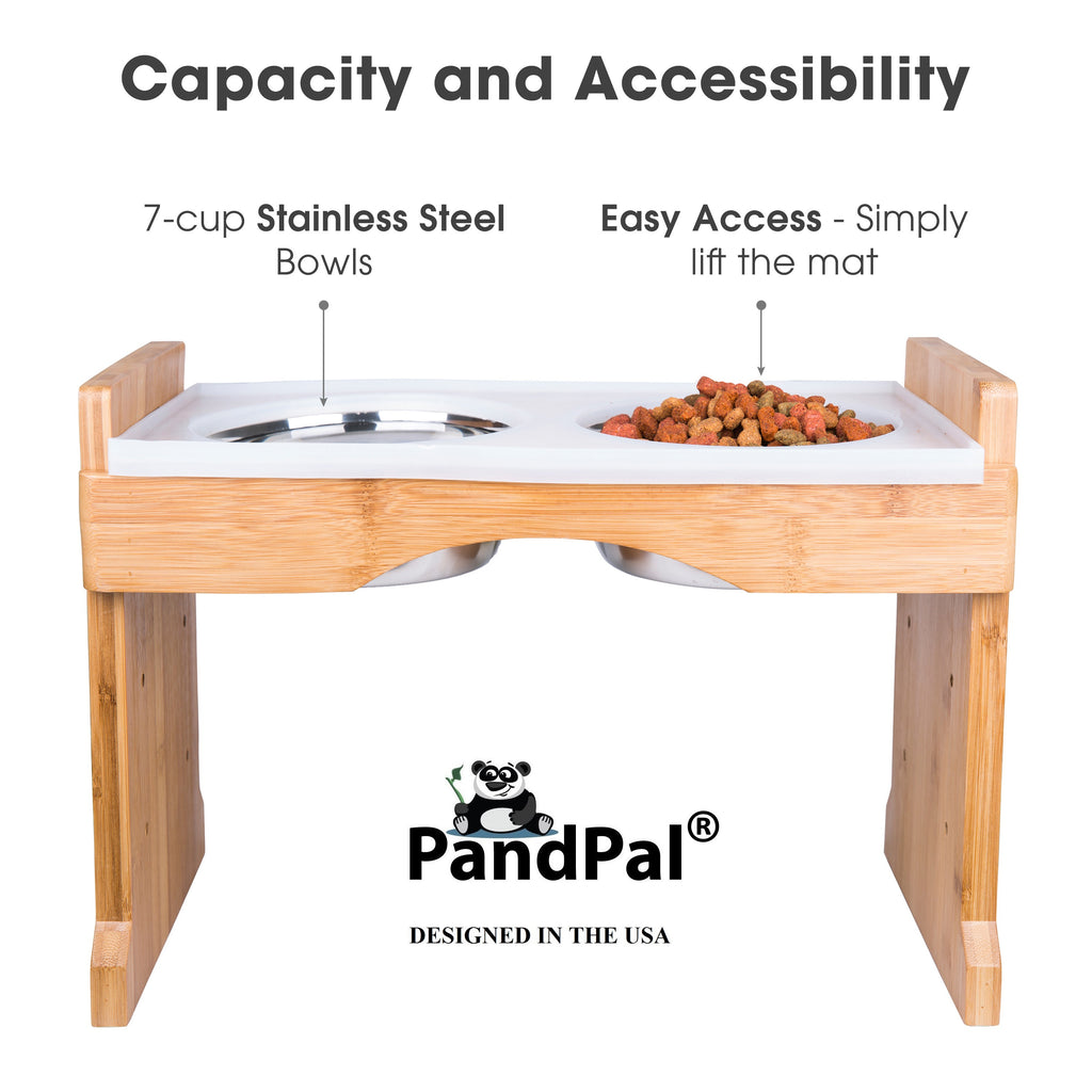 Elevated Bamboo Pet Feeder Station with Silicone Mat