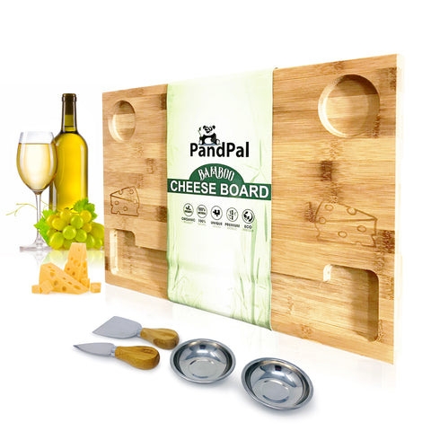Dual Side Bamboo Cheeseboard & Cheese Knives and Cups