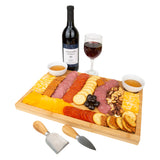 Dual Side Bamboo Cheeseboard w/two Cheese Knives
