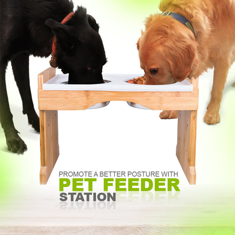 Adjustable Raised Pet Feeder - Dogs or Cats w/ Silicone Mat & 4 Stainless Steel Bowls