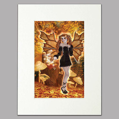 Autumn Leaves Fairy Mounted Print