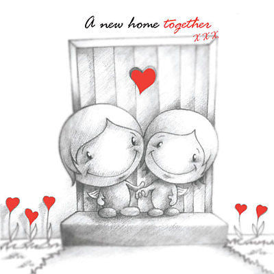 """A New Home Together"" Cupids Card happy couple at their new front door red b&w"