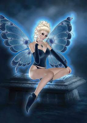 Blue Fairy Birthday Card for women & girls mischievous on tombstone at night