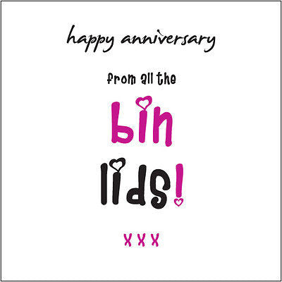 """Happy Anniversary from the all the Bin Lids!"" (Kids) Card Cockney rhyming slang"