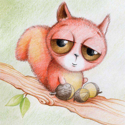 'Red Squirrel With Big Eyes' Cuties Birthday Card/any occas girl/boy cute sketch