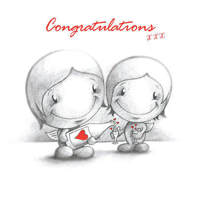 """Congratulations"" Card Cupids celebrate spec occas Anniversary engaged job exam"
