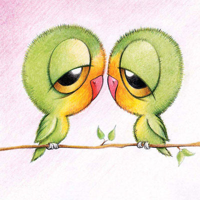 "'Love Birds With Big Eyes"" Cuties Birthday Card for men/women/couples new nest!"