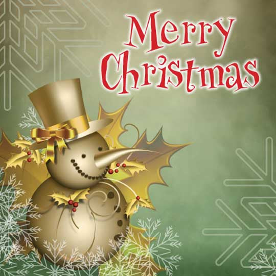 """Merry Christmas"" Card with cute gold snowman"