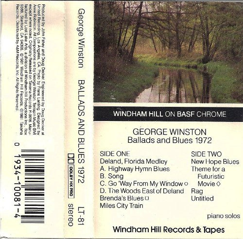 George Winston Ballads and Blues 1972 Audio Cassette Tape
