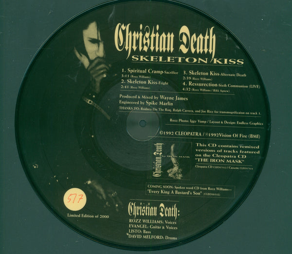 "Christian Death Skeleton Kiss 10"" Picture Disc #517 of 2000 EP Vinyl Record"