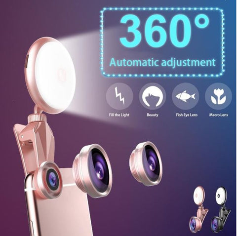 Universal 2 In 1 Luxury Selfie Lamp LED Light & Phone Camera Lens