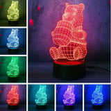 3D  Honey Teddy Bear Optical Illusion Lamp